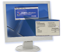 JAWS Screen reader picture of computer and software