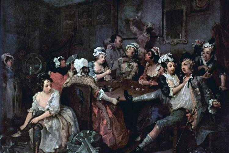 Rake's Progress (1735). William Hogarth. Courtesy Wikimedia Commons.