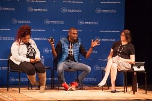 Netta Elzie and DeRay Mckesson speaking about Race in America for National Agenda Series. Photo by Ambre Alexander Payne