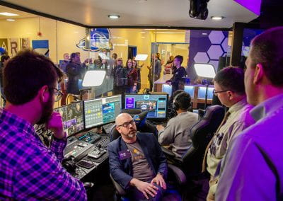 """A high-tech broadcast booth in the UD Esports Arena integrates multiple camera views and microphones for student """"shoutcasters"""" to provide live play-by-play entertainment during matches."""