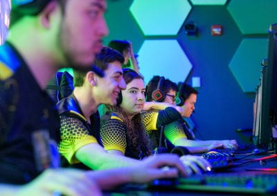 Members of UD's Overwatch team practice gaming in UD's new arena