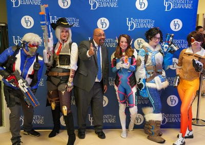 José-Luis Riera poses with Overwatch cosplayers