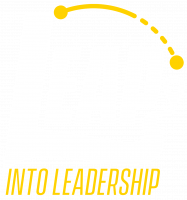 LEAP Into Leadership White and Gold logo