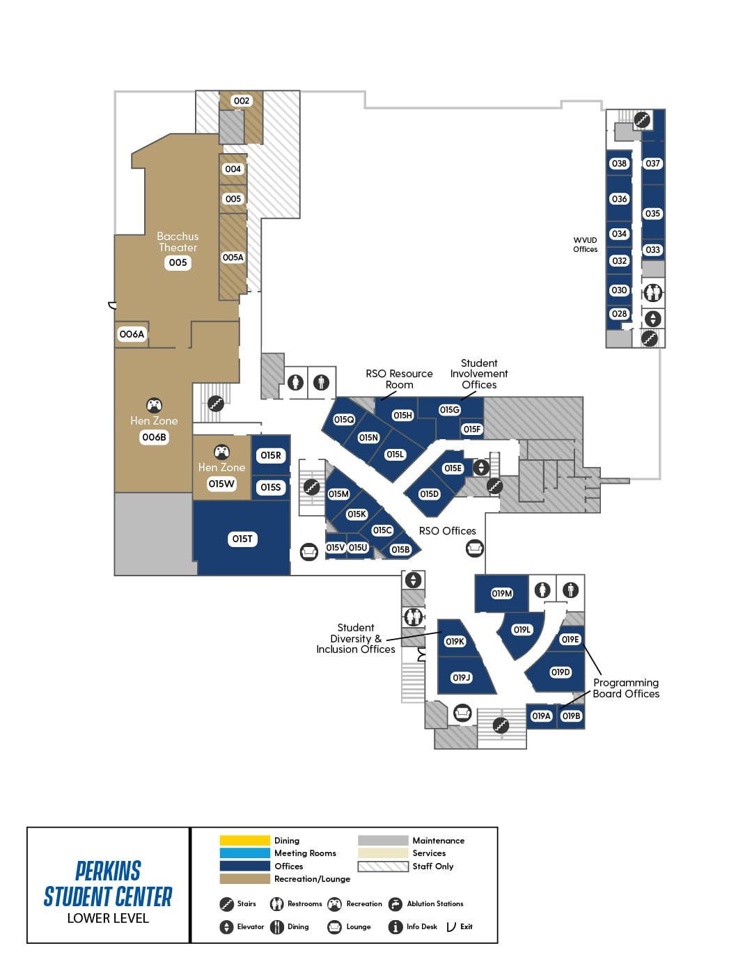 Perkins Lower Level Map, showing WVUD, Bacchus Theater, Student Involvement Offices, Programming Board Office, and Student Diversity & Inclusion Offices