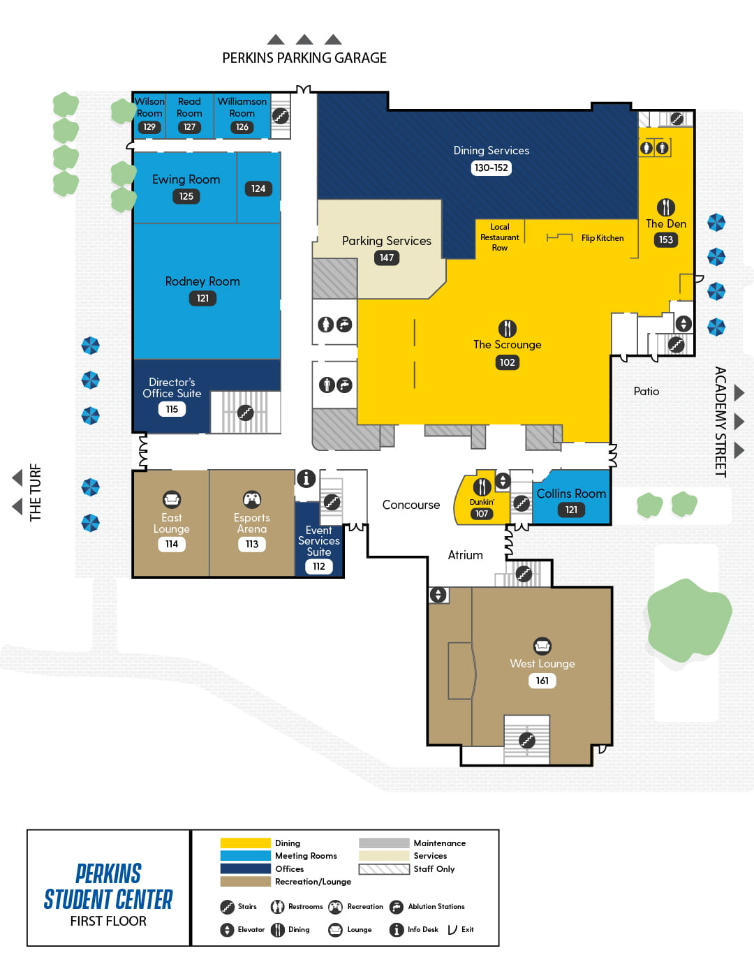Perkins First Floor Map, showing The Scrounge, The Den by Dennys, Dunkin', East and West Lounge, Esports Arena, Event Services Office, and several reservable meeting rooms