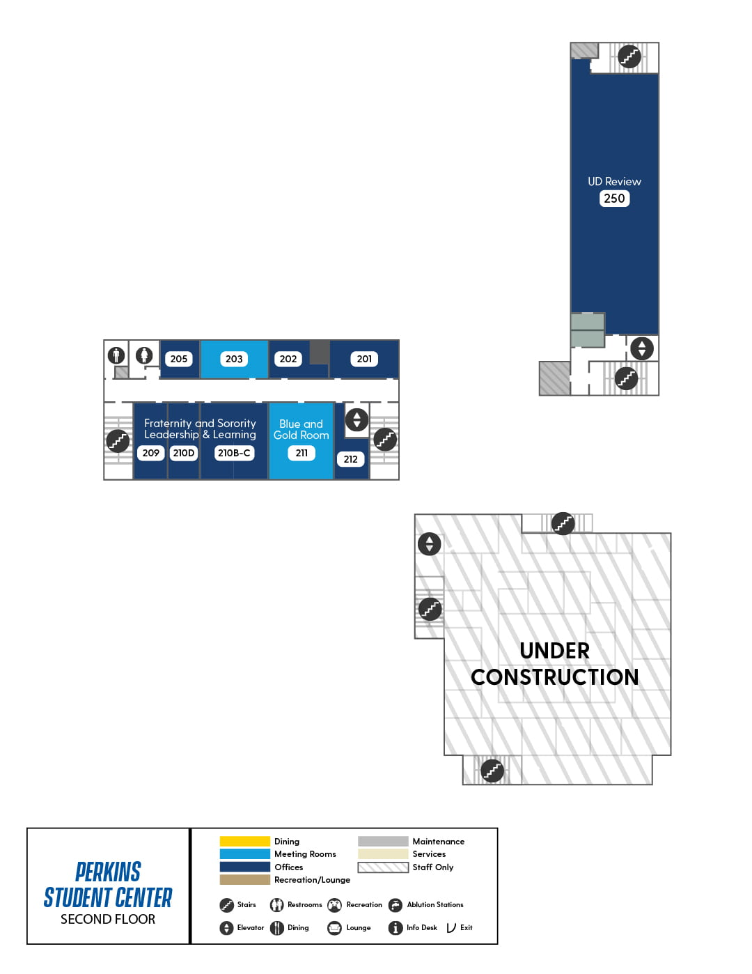 Perkins Second Floor map, showing The Egg, Fraternity and Sorority Leadership & Learning, and the UD Review offices