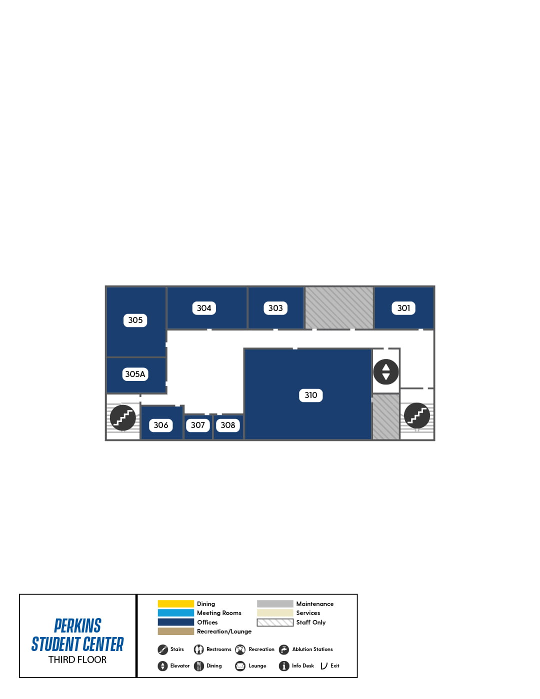 Perkins Third Floor map, showing multiple office spaces