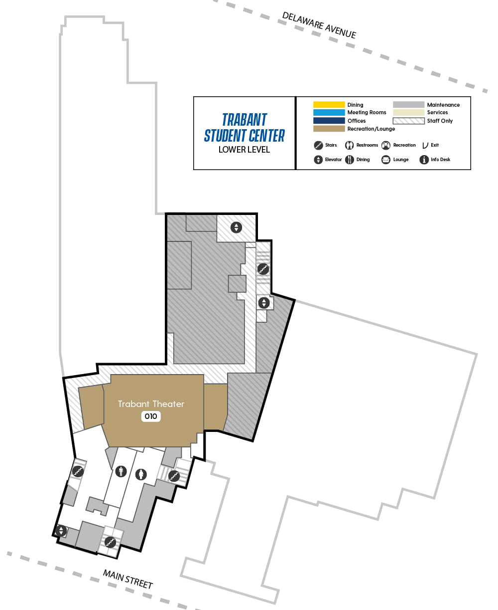 Map of Trabant Lower Level showing Trabant Theater and maintenance areas