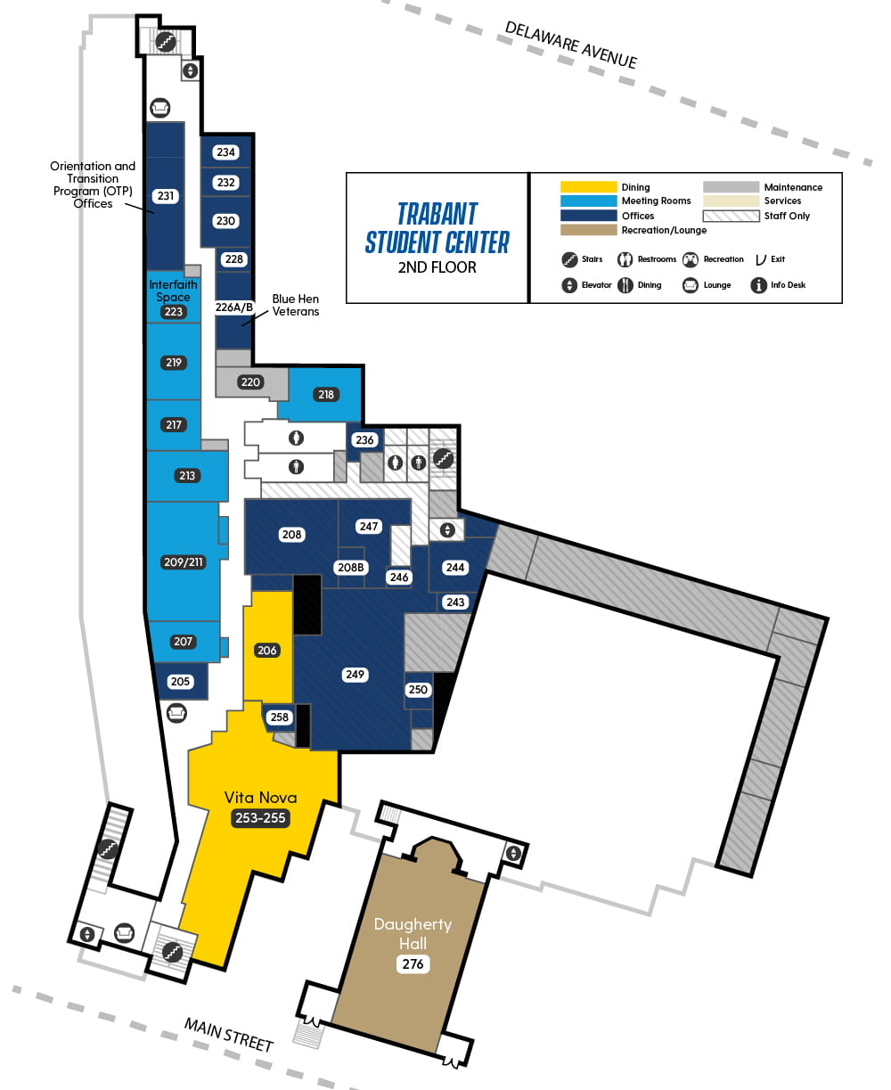 Map of Trabant Second Floor showing Vita Nova, Interfaith Space, Orientation & Transition Program Offices, and several reservable meeting spaces
