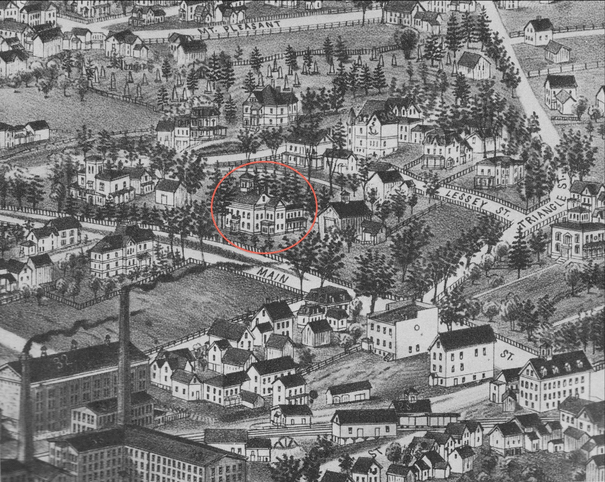 Figure 2. Close-up of Lucien R. Burleigh's bird's eye view of Amherst, made ca. 1886. (Jones Library Special Collections, Amherst, Massachusetts.)