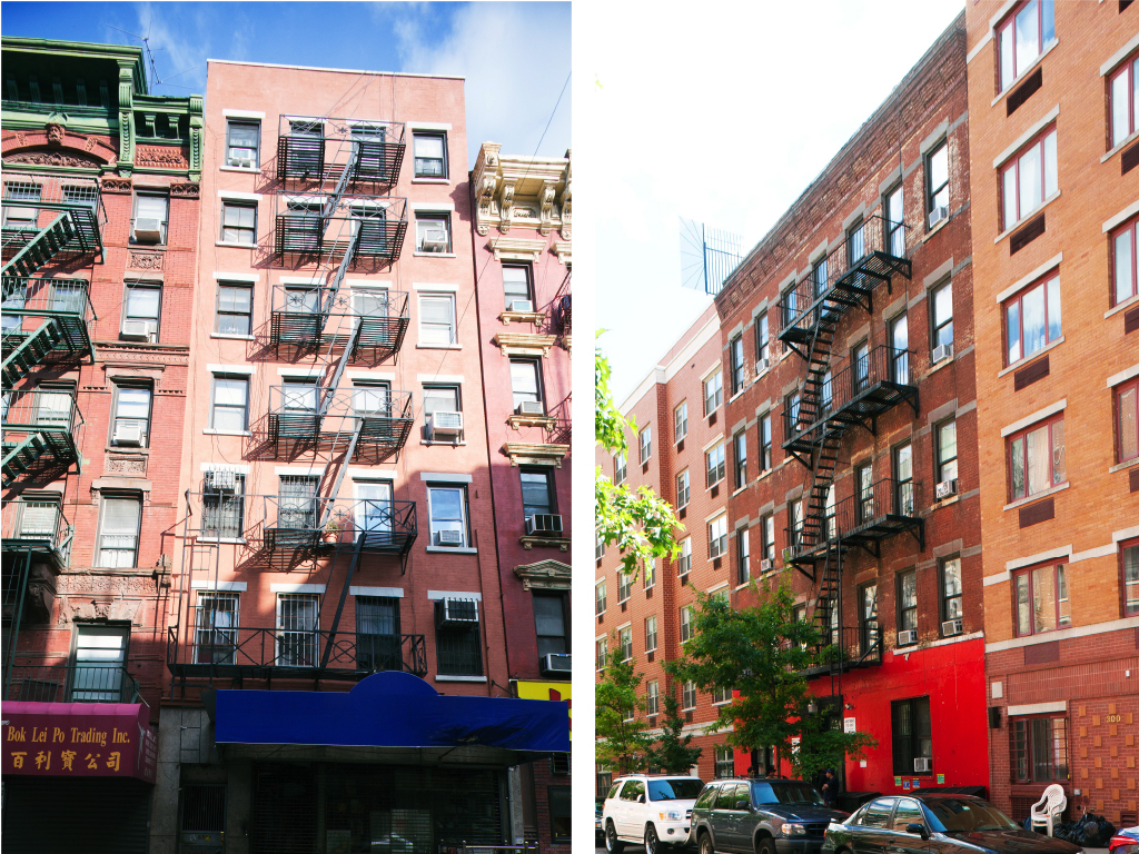 Figure 2a (left): Samuel Weeks tenement, 65 Mott Street, New York, 1824. Architect unknown. Probably the earliest tenement in New York, this building shows the austerity of early tenement construction. (Photo by author, 2011)<br />Figure 2b (right): A.B. Schermhorn Tenement, 302 E. 3rd Street, New York, 1885. George B. Post, Architect. Designed by perhaps best architect in the country at the time, working for the estate of a wealthy family, this building shows the continuation of the austere warehouse-like tenement mode long after ornament was commonly used on tenements.