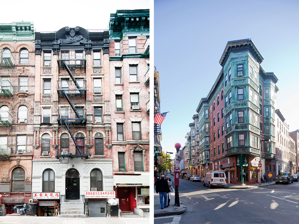 """Figure 3a (left): Alexander Stake tenement, 86 Madison Street, New York, 1889. Alexander Finkle, architect. A heavily-ornamented New York tenement, this immigrant-built and designed building shows the use of belt courses, pilasters and window support elaboration. The ornate stamped-metal cornice bears the name """"Lincoln"""", a reference to the president and a typical invocation of power through the use of ornament. (Photo by author, 2011)<br />Figure 3b (right): Etta Lebowich Tenement, 68 Prince Street, Boston, 1896. Charles A. Halstrom, architect. An early decorated tenement in Boston. This structure's sheet metal clad oriel windows, here executed in elaborate cooper, shows the picturesque effects possible with a broken facade plane. (Photo by author, 2012)"""