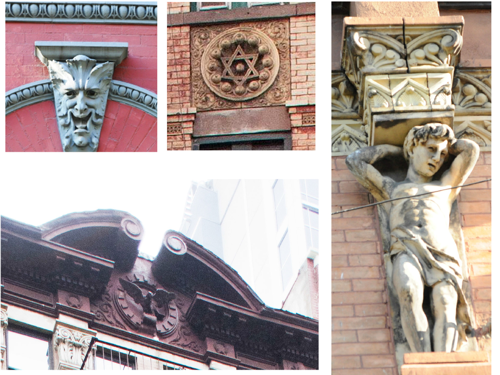 Figure 4: High symbolic ornament from New York tenements. Top right: Grotesque keystone with egg and dart molding from Bernard Klingstein Tenement, 66 E. 7th Street, 1896, George F. Pelham, architect. Top middle: Star of David spandrel panel from Fajbush Libman Tenement, 137 East Broadway, 1887, Herter Brothers, architect. Bottom left: Sheet metal eagle on cornice pediment from J.D. Karst Tenement, 58 E. 4th Street, 1888, Alexander Finkle, architect. Right: caryatid pilaster from August Ruff tenement, 229 E. 10th Street, 1889, Schneider and Herter, architects. (Photos by author, 2011)