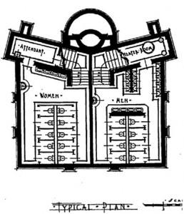 "Figure 2. Van Leyen, Schilling & Keogh, ""Public Comfort Station, Capital Square, Detroit, Mich.,"" The American Architect 118, no. 2342 (Nov. 10, 1920): 606"
