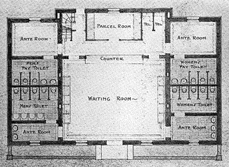 """Figure 4. """"Floor Plan of National Highways Public Comfort Station,"""" from """"The Comfort Station as a Public Utility,"""" The American City 16, no. 2 (Feb., 1917): 180."""