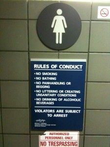 Figure 5. Public toilet in Penn Station (photograph by author, New York, April, 2010)