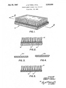 """Figure 1. Patent drawing for """"monofilament ribbon pile product,"""" also known as """"AstroTurf."""" James M. Faria and Robert T. Wright, assignors to Monsanto Company, """"Monofilament Ribbon Pile Product,"""" July 25, 1967."""