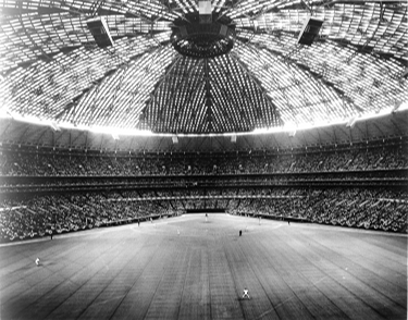 Figure 2. AstroTurf was installed in the Astrodome in 1966. Note the seams in the playing surface. (Houston Metropolitan Research Center, Houston Public Library, Houston Texas, Litterst-Dixon Collection, MSS 0157-0062)
