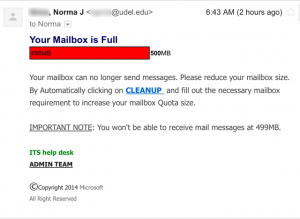 Your mailbox is full scam.