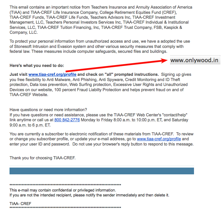 fake tiaa cref security alert swims into ud email inboxes secure