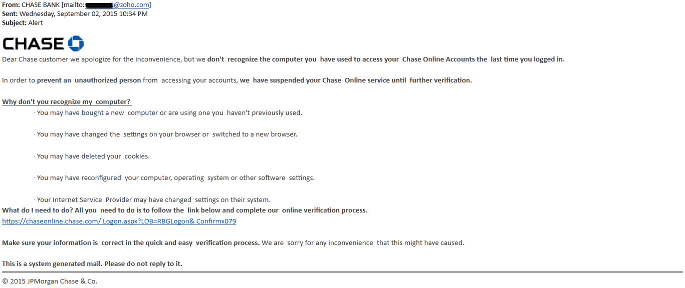 Chase Bank scam finds UDel inboxes | Secure UD Threat Alerts