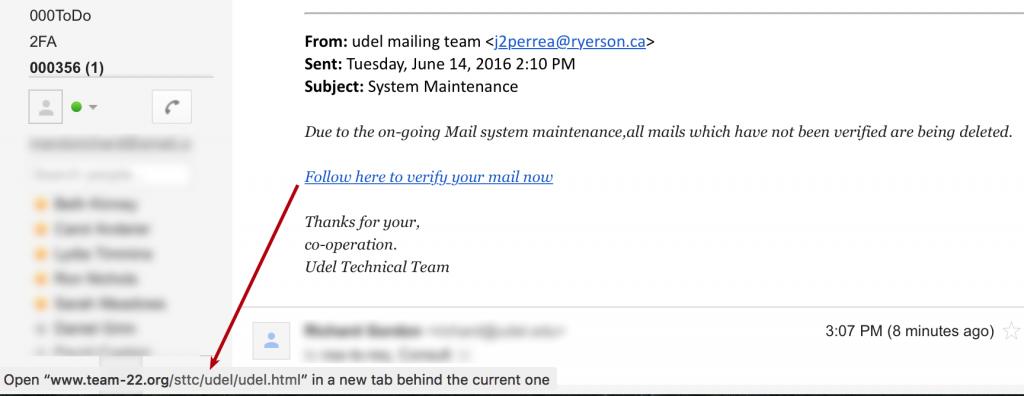 Phishing scam screenshot