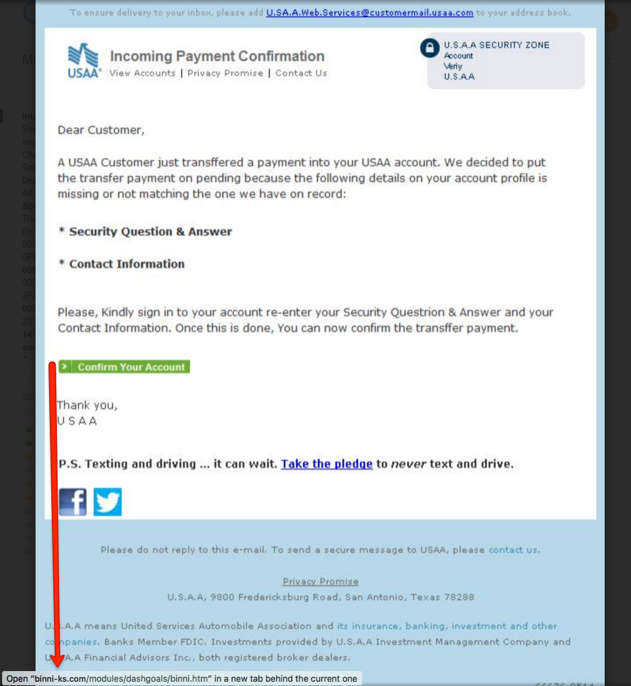 Usaa Contact Us >> Bogus Usaa Phishing Scam Uses Pdf Attachment To Lure Its