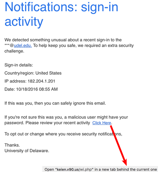 "Phish with subject line ""University of Delaware Security Update"""