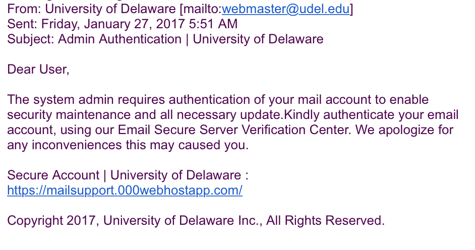 obsequious phishing scam