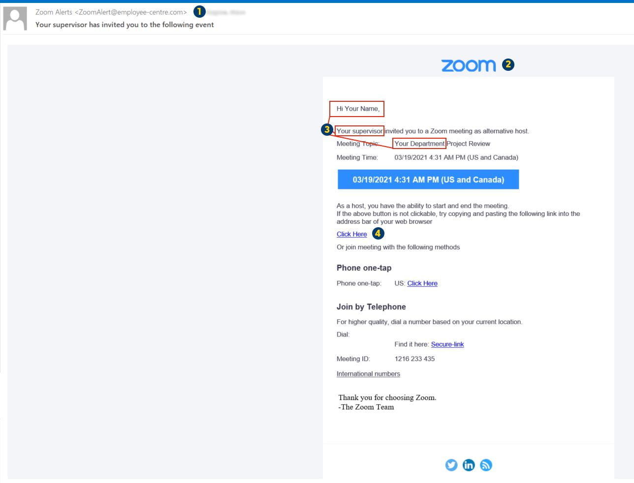 March 2021 annotated email
