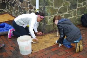 Amara and Nicole focused on their excavation unit!