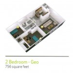 2 bedrooms (for 2 students or for a family)