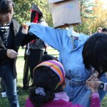 students making scarecrows