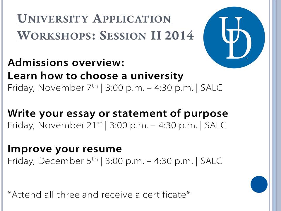 University Application Workshops II 14