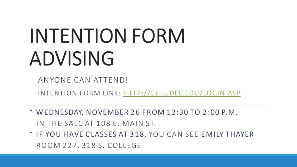 Intention form advising II14