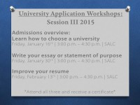 University Application Workshops III 15