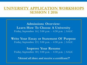 University Application Workshops I 16