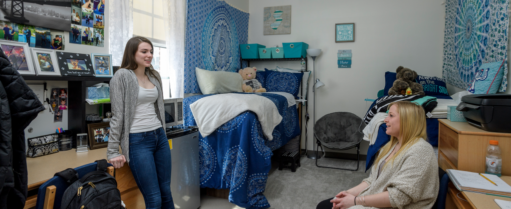 Students in Caesar Rodney double room decorated in shades of blue