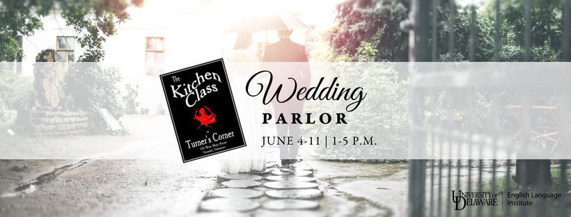 Photo of two people dressed in a wedding gown and suit carrying an umbrella as sun streams through onto wet cobblestones with text overlay: Wedding parlor, June 4-11, 1-5 p.m.
