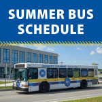 UD Shuttle Bus parked in front of modern building and blue sky with text: Summer Bus Schedule