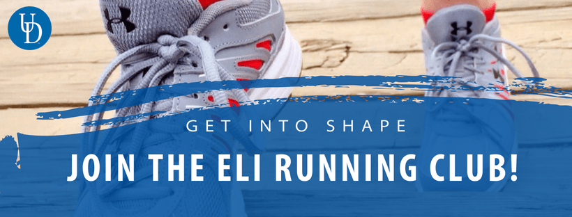 Get into Shape. Join the ELI Running Club! over closeup photos of sneakers with feet.