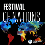 Watercolor pattern on shapes of the continents with text overlay: Festival of Nations