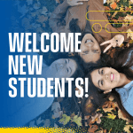 "Students lay on leaf-speckled grass. Text reads ""Welcome new students!"""