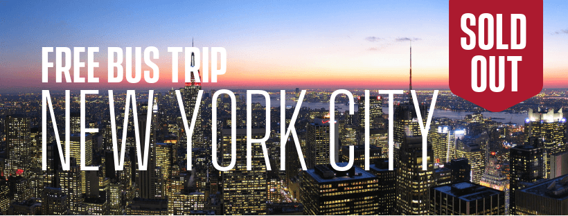 New York City skyline as seen from the Top of the Rock. Text: Sold out Free NYC trip