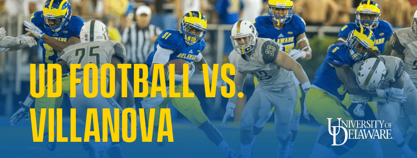 The Fightin' Blue Hens take on the Dolphins with text: UD Football vs. Villanova