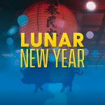 """A traditional red lantern and a silhouette of a pig with text """"Lunar New Year"""""""