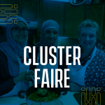 Two students in hijab pose with Nancy Turner, Kitchen Class tutor, in Nancy's kitchen. Text: Cluster Faire