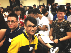 Smiling students at Session 1 2018 orientation