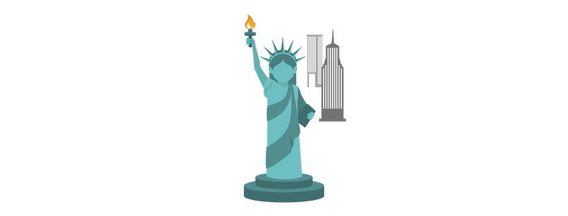 Illustration of the Statue of Liberty with two skyscrapers in the background