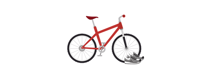 Illustration of a bicycle and a pair of running shoes.